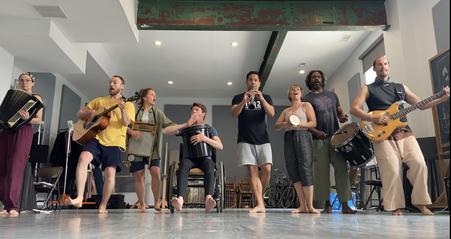 The cast of Minor Character in rehearsal.